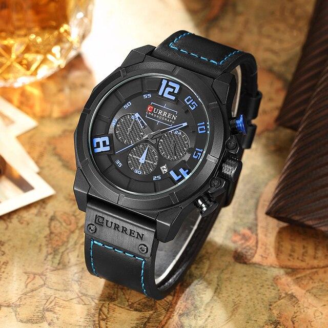 CURREN الفاخرة العلامة التجارية الرجال العسكرية الرياضة كرونوغراف الساعات تاريخ الكوارتز الذكور ساعة جلدية حزام ساعة معصم Montre أوم Reloj