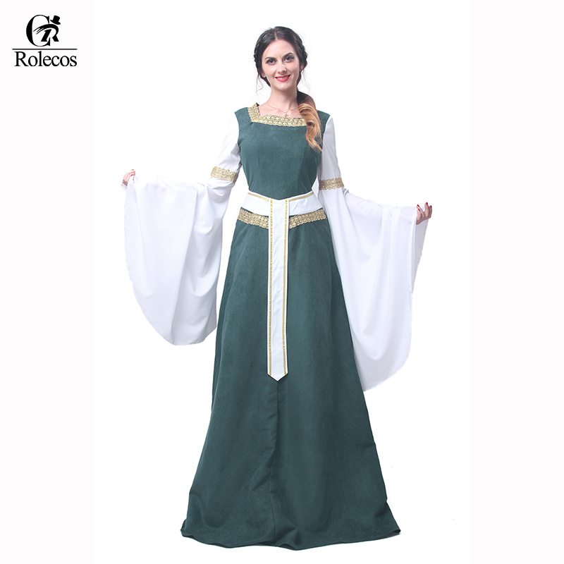 Rolecos Woman's European Retro Clothing Renaissance Medieval Gothic Long Dresses Dark Blue Gothic Evening Dresses