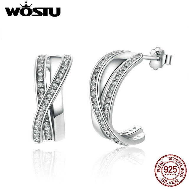 2017 Spring New 100% 925 Sterling Silver Entwined Half Hoop Earrings With Clear CZ For Women Authentic Original Jewelry Gift