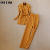 Fashion Lace Up Women Pant Suit Slim Waist Blazer & High Waist Pant OL Style Female 2 Pieces Set Women Suits