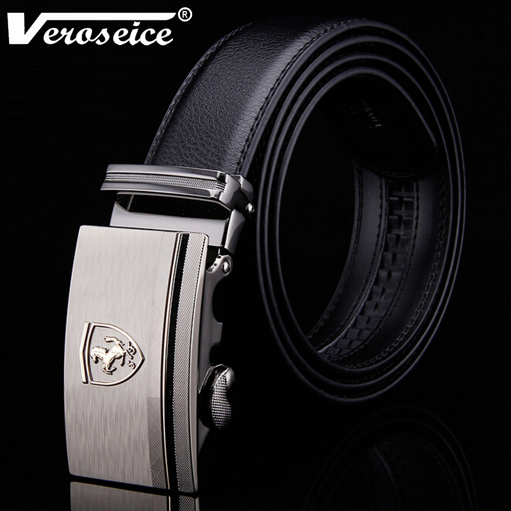 [Veroseice] High Quality Car Logo Horse Automatic Buckle Cowskin Men's Belts Luxury Large Genuine Leather Strap Belt for Men