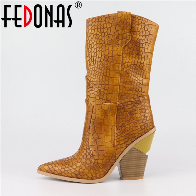 FEDONAS New Women Mid-calf Boots Sexy Pointed Toe Autumn Winter Boots Ladies Wedges Half Boots Shoes Woman High Quality Boots