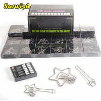 24Pcs/set Metal Wire Puzzles Brain Teaser Kit Classical Educational Toy Silver