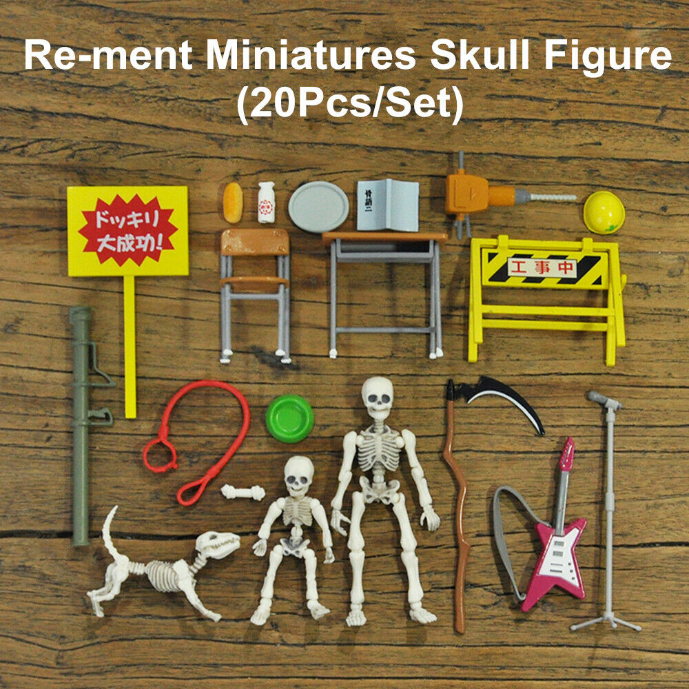 Re-ment Miniatures Skull Figure Pose Skeleton Figma Action Adult Kids Collection Science Education Toys Gift Home Decor