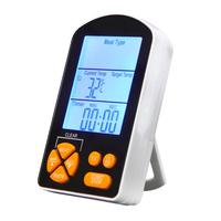 Digital Thermometer Timer LCD Display Probe Cooking Food Cooking Meat Dual Kitchen BBQ Tool Stainless Steel