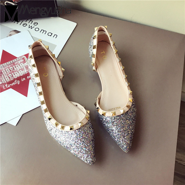 gold silver side hollow bling flat wedding shoes women rivets pointed  sequined cloth single shoes comfortable OL driving shoes d421f7183ded