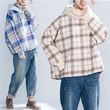 QoerliN Fake Two Piece Hoodies Sweatshirts Large Size Women Autumn Spring Long Sleeve Big Loose Pullovers Casual Ladies Hot