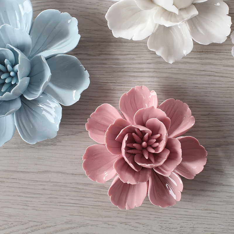 Ceramic Wall Flower Decor: 1PCS Blue Ceramic Tlower Three Dimensional Decoration Wall
