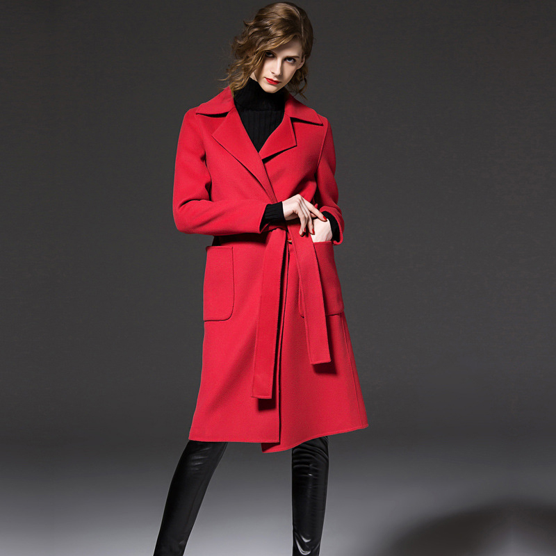 Mode Coat Rouge De Manteau Vestes Femmes Taille Noir red Couleur Manteaux Réglable Femelle khaki Tissu Kaki Coat Laine Coat Bleu Longue Coat Cachemire blue Black D'hiver rgrO5