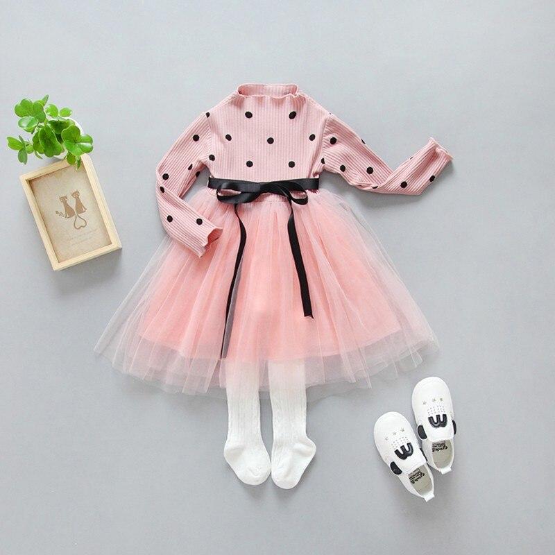 2018 Baby Girls Dresses Long Sleeve Princess Polk Dot Dress Autumn Round Neck Lace Princess Party Prom Tulle Dresses uoipae party dress girls 2018 autumn