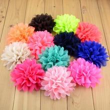 50 sztuk/partia 32 kolory U Pick moda 4 duża szyfonowa tkanina kwiaty dla dziewczyny pałąk akcesoria do włosów darmowa wysyłka FH03
