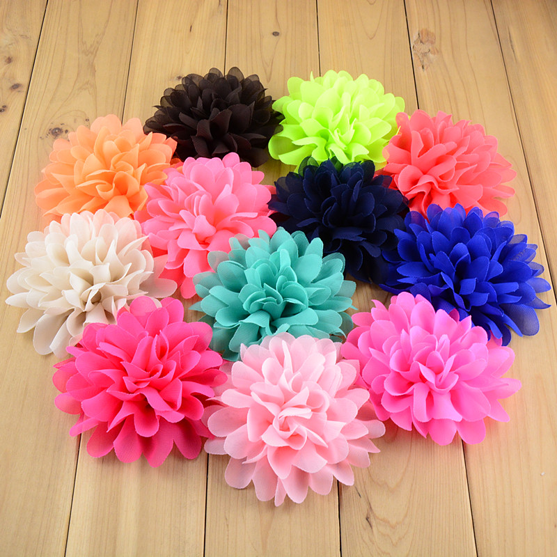 50pcs/lot 30 Colors U Pick Fashion 4'' Big Chiffon Fabric Flowers For Girl Headband Hair accessories Free Shipping FH03 metting joura vintage bohemian green mixed color flower satin cross ethnic fabric elastic turban headband hair accessories