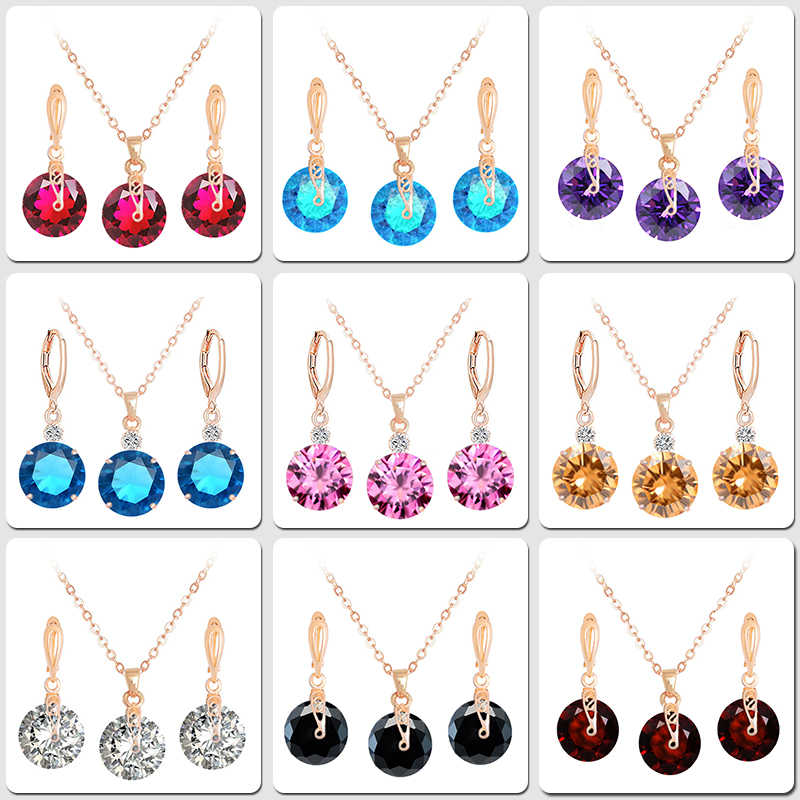 QCOOLJLY Jewelry Sets for Women Round Cubic Zircon Hypoallergenic Copper Necklace Earrings Jewelry Sets Wholesale Bijoux Femme