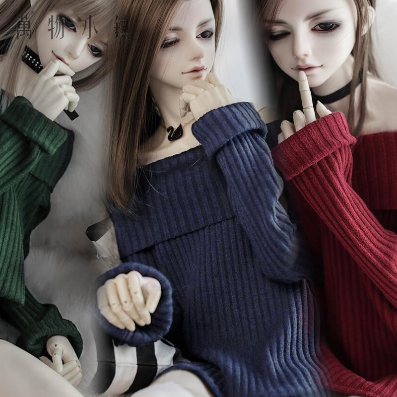 NEW Sexy Dew shoulder Lapel Green/Blue/Red T-shirt Clothes uncle 1/3 Boy BJD Doll Clothes casual stripe trumpet sleeve knit t shirt for bjd 1 4 msd 1 3 sd10 girl sd13 boy sd17 uncle doll clothes accessories cmb114