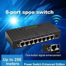 250 M SPOE Chuyển Đổi Ethernet Với 8 10/100 Mbps Cổng 6 PoE Bộ Chia Thích Hợp cho Camera IP /không dây AP/Camera quan sát Hệ Thống