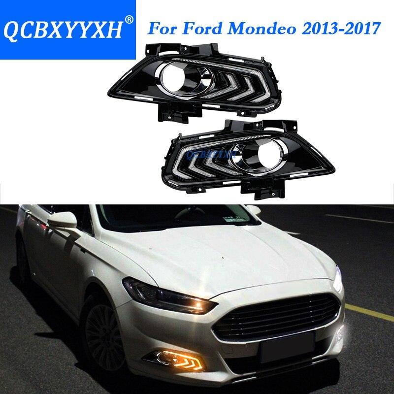 QCBXYYXH Для Форд Мондео Фьюжн 2013 -2017 с поворота желтый сигнал реле Водонепроницаемый автомобиля DRL 12V светодиодные дневные ходовые свет