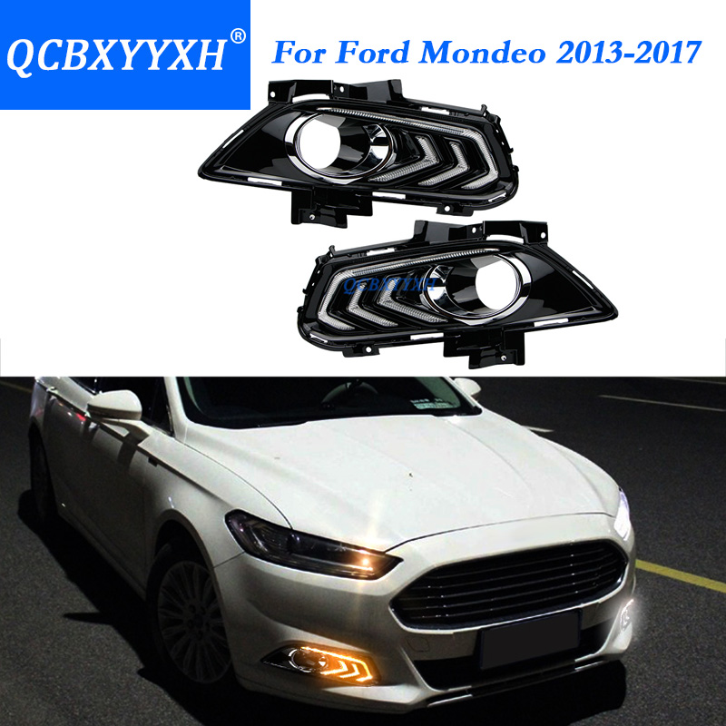 QCBXYYXH For Ford Mondeo Fusion 2013 -2017 With Turning Yellow Signal Relay Waterproof Car DRL 12V LED Daytime Running Light