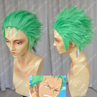 Janpanese Anime ONE PIECE Slicked back green wig Short Layer Roronoa Zoro Comic Cosplay Wigs + Wig Cap