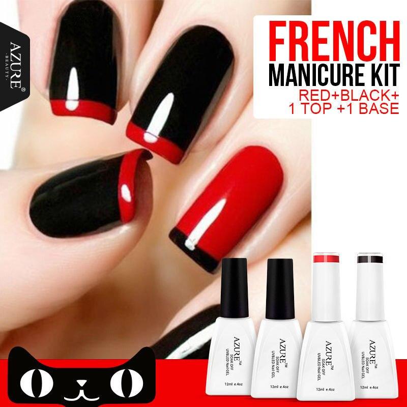 Gel Nail Polish French Manicure: Azure 4Pcs/lot Nail Gel Polish French Manicure Black Red