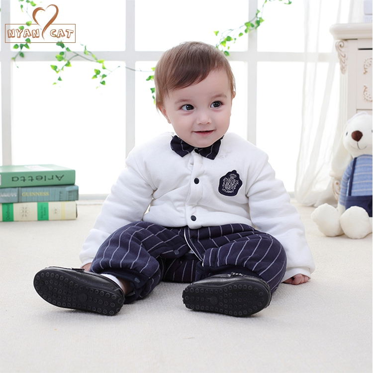 Baby Boy Cotton Winter Thicken Outfit Gentlemen Striped And Solid Bow Tie Romper Jumpsuit Infant Wedding