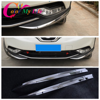 Car Styling ABS Chrome Front Bumper Protector Trim Stickers For Nissan Qashqai J11 Chrome 2014 2015