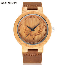 New Fashion Natural Wooden Quartz Waches Mens Texture Stripe Deer Head Scale Design Dial Leather Band Wristwatches