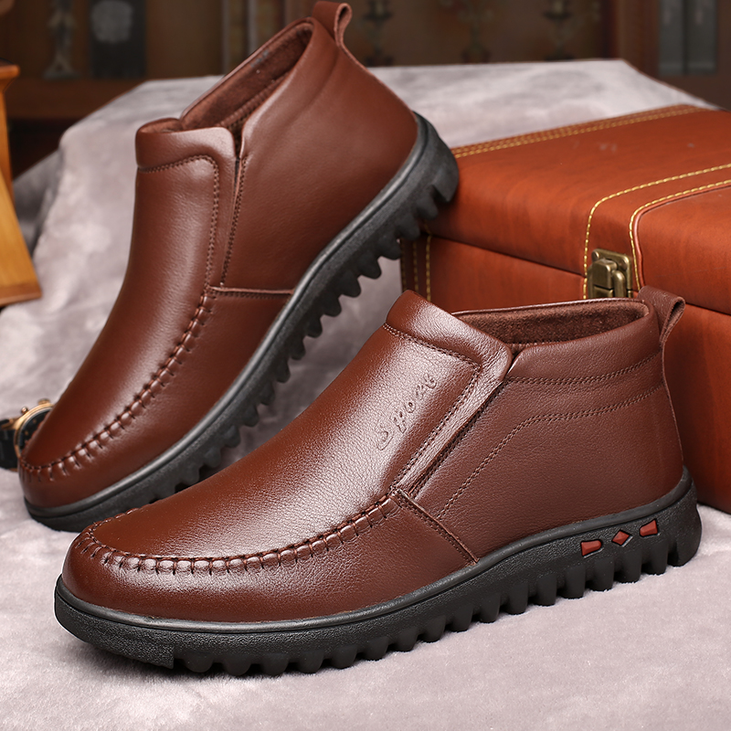 OSCO Shoes Men Winter Boots Business Leather Ankle High top Cotton Man Snow Boots Business Office Formal Leather Working Boot
