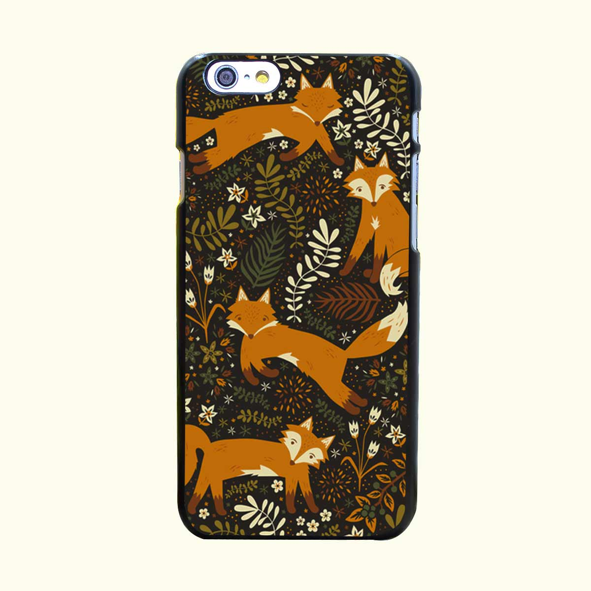 Fox Tales Hard Black Case Cover for iPhone 4 4s 5 5s 5c 6 6s Plus Print on Black Back