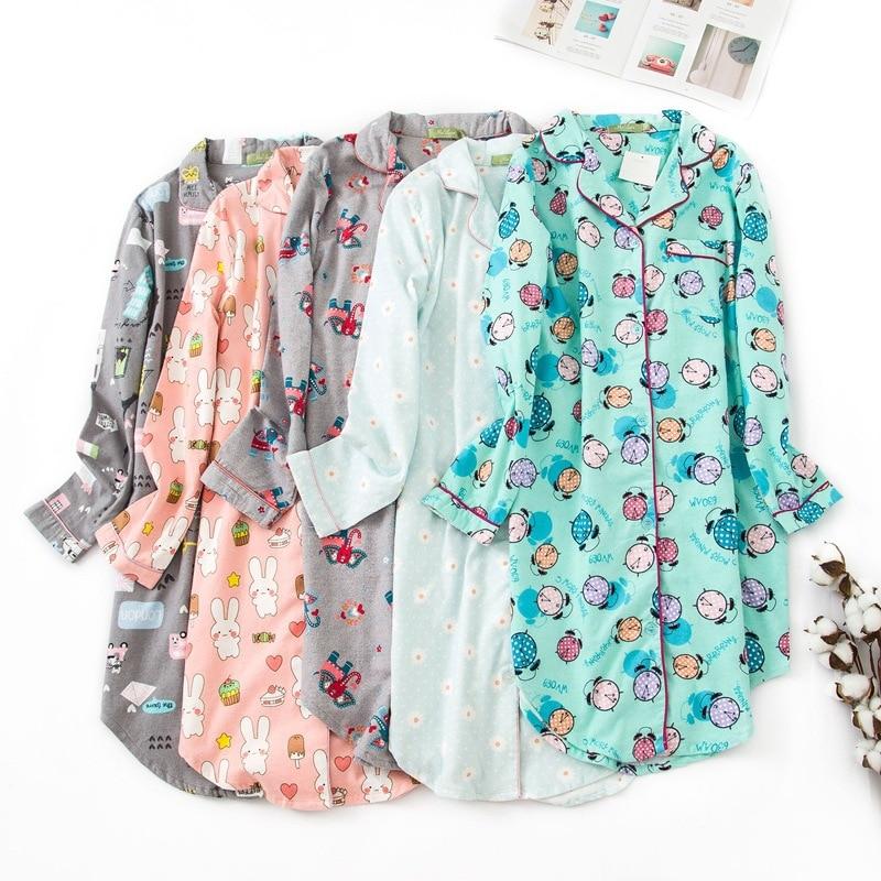 Autumn Women Sleepwear Pure Cotton Flannel Nightgown Long Sleeves Sleep Wear Long Sleep Dress Fatten Ladies Plus Size Nightwear