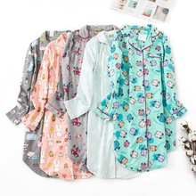 Autumn Women Sleepwear Pure Cotton Flannel Nightgown Long Sleeves Sleep Wear Dress Fatten Ladies Plus Size Nightwear