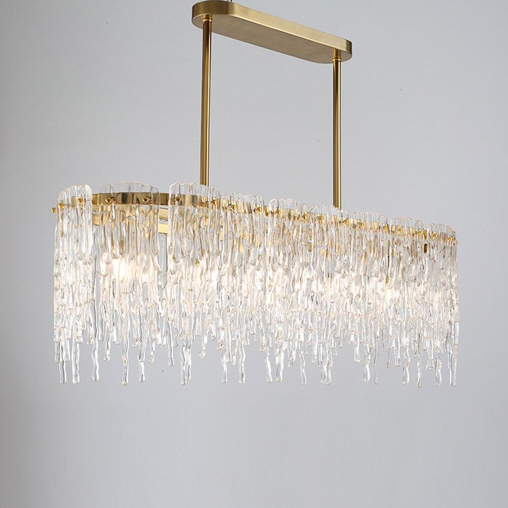 luxury design rectangular chandelier LED lamp AC110V 220V modern dinning room living room hanging lights