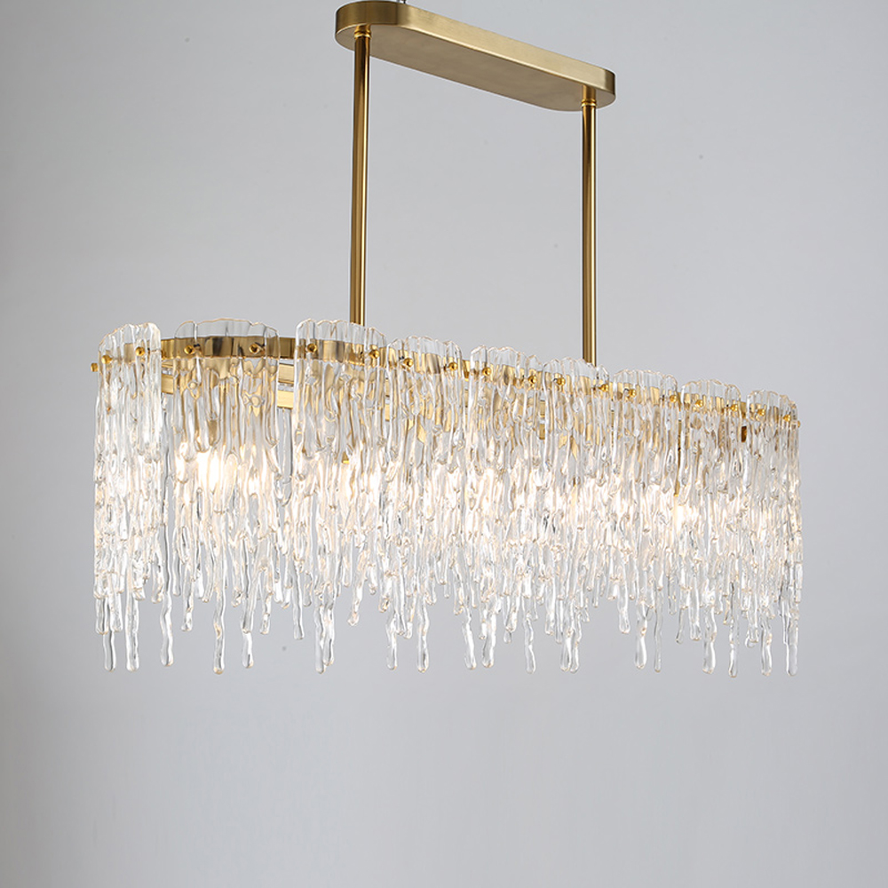 Design de luxo lustre retangular CONDUZIU a lâmpada AC110V 220 V luzes de vidro sala de jantar sala de estar pendurado