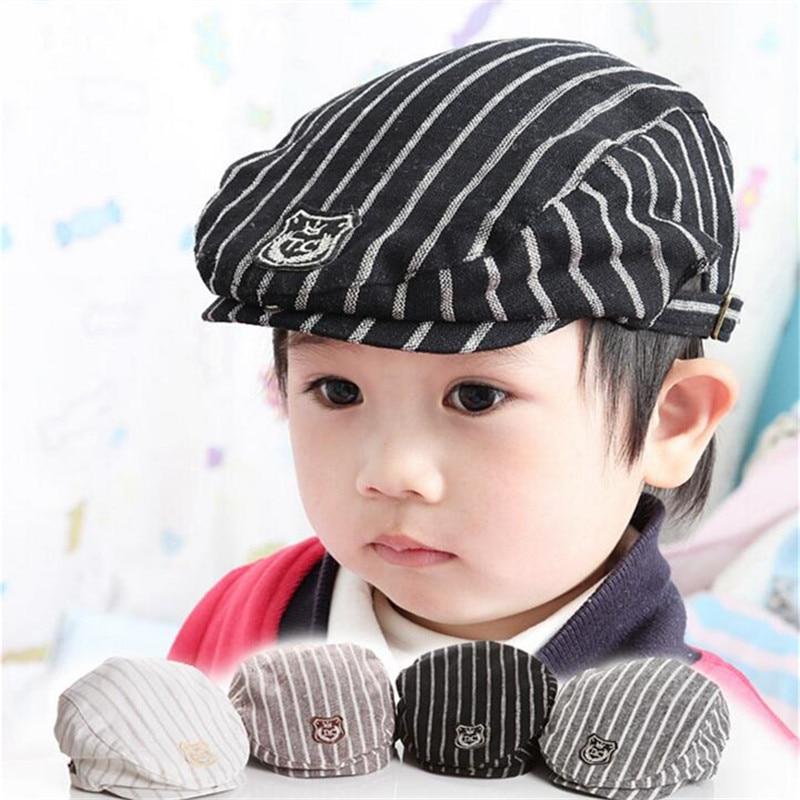 Online Shop Baby Boys Gentleman Hat Kids Stripe Cap Toddler Beret Cotton  Lovely Kids Newborn Photography Props Infant England Style Clothes  e225453d3f5