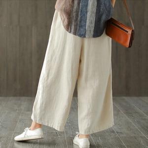Image 5 - Johnature 2020 新コットンカジュアル足首の長さのリネンルーズ女性パンツファッション春夏ウエストゴムワイド脚パンツ