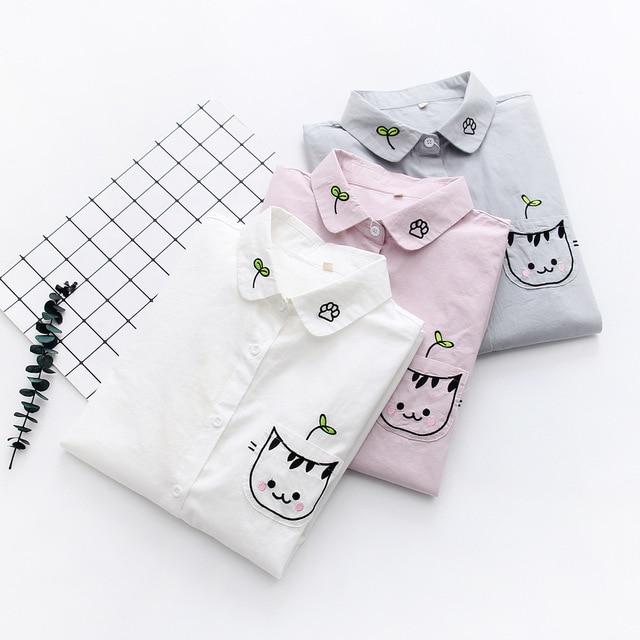 Для женщин белая блузка рубашка Женский хлопок новый летний сладкий вышивка мультяшного кота рубашки для мальчиков женская одежда 2019