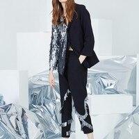 TWOTWINSTYLE Sequins Blazer Suits Women Autumn Big Size Long Sleeve Single Button Coat Ankle Length Pants Black Two Pieces Set