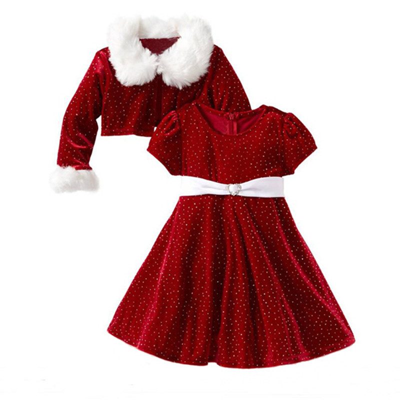 Children Christmas Clothing Set Toddler Girls Santa Claus Costumes Jacket Coat+Dress Two-piece Suit Kids Halloween Clothes adult christmas santa claus costumes flocking rabbit fur fancy cosplay santa claus clothes good quality costume christmas suit