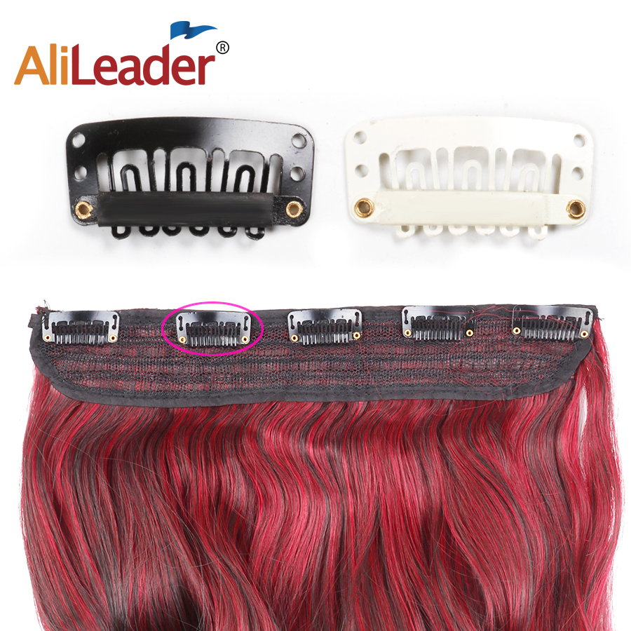 AliLeader 20 PCS Black Stainless Steel Wig Clips Combs Snap Clips With Rubber For Hair Extension Toupee DIY 6 Teeth Snap-Comb