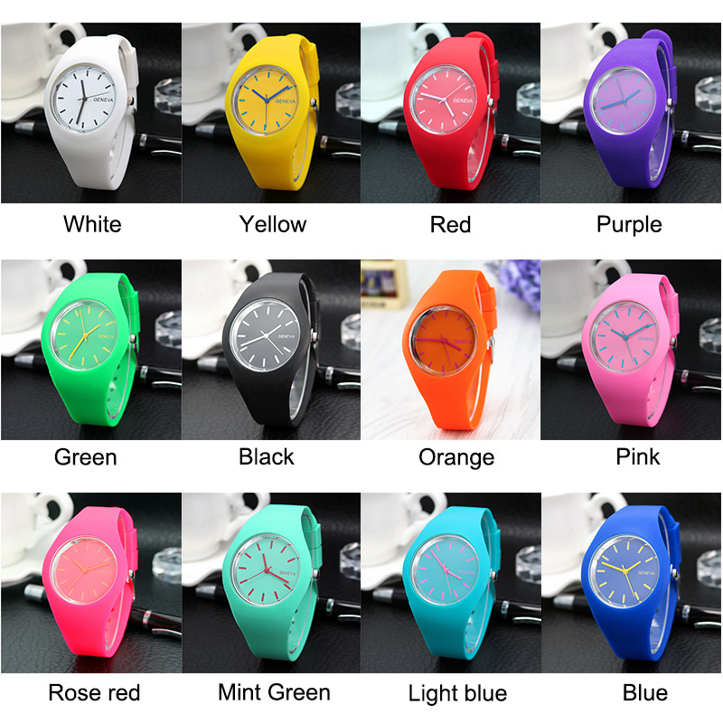 1 Pcs Women Quartz Watch Candy Color Dial with Silicone Band LXH