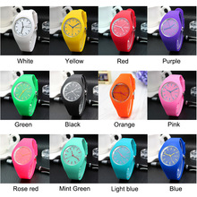 1 Pcs Women Quartz Watch Candy Color Dial with Silicone Band