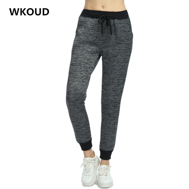 WKOUD 2017 Winter Hot Pants For Women Fleece Thickening Warm Sweatpants Elastic Waist Casual Harem Pants Female Trousers P8019
