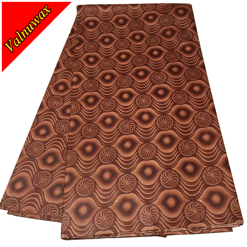 2018 Guaranteed block wax prints hitrack fabric 100% cotton brown color ankara wax prints fabric for party dresses 6 yards PL