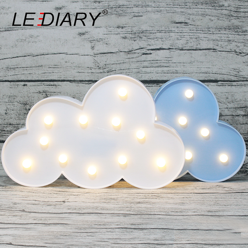 LEDIARY Creative Cloud Shape LED Night Light Blue Pink 3D Atmosphere Lamp For Children Kids Bedroom Battery AA Home Decoration creative home decoration ferris wheel shape led night light