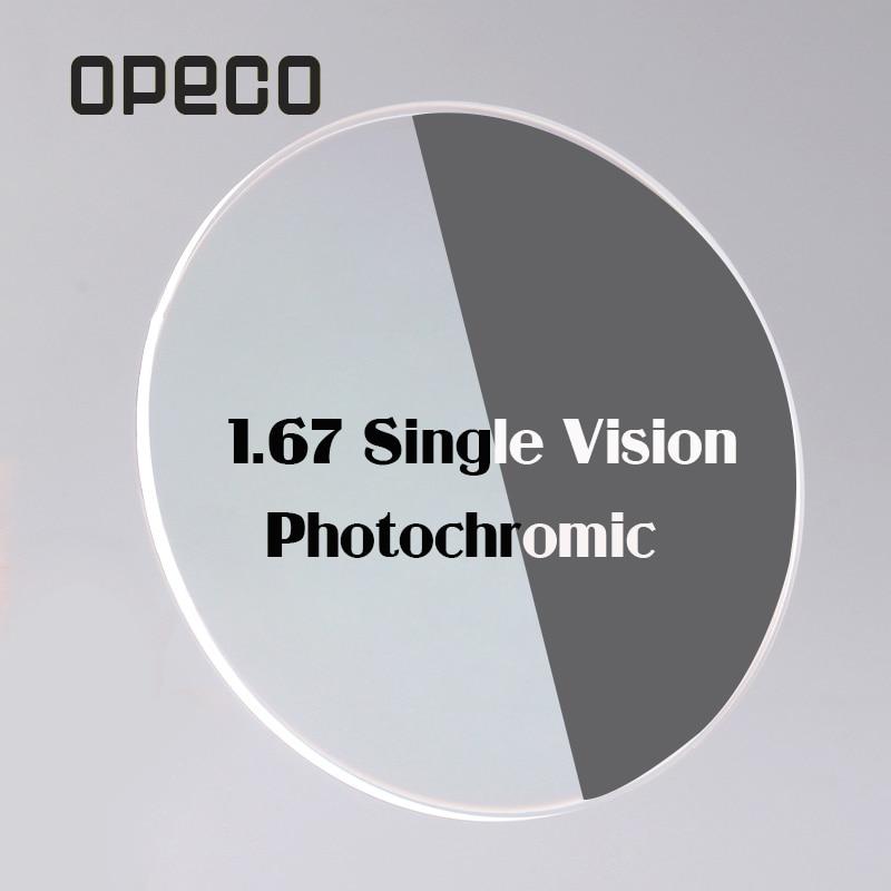 Opeco 1.67 Photochromic Single Vision Lenses High index  brown / gray Transition Photogray prescription lenses myopia