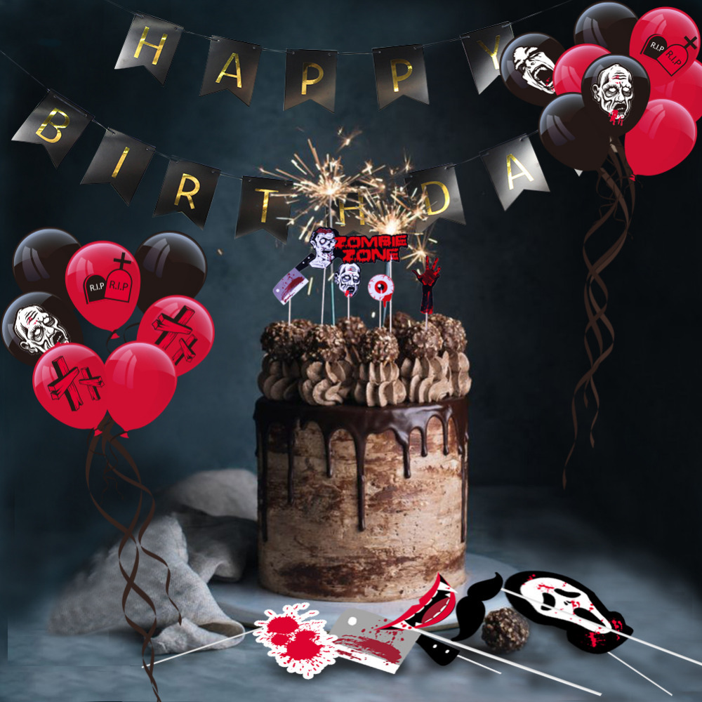Combination Suit Fun Zombie Birthday Party Decoration Spoof Walking Dead Party Banner Photo