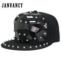 Janvancy Baseball Caps Men Women Punk Hip Hop Flat Bone Snapbacks Man Party Shows Hats Steampunk Hiphop Black