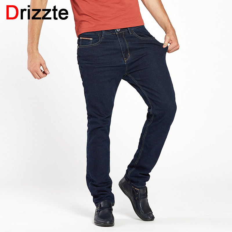 Drizzte Brand Men Classic Dark Blue Stretch Jeans Denim Jean Trendy Trousers Pants Size 33 34 35 36 38 40 42 drizzte men s jeans classic stretch blue denim business dress straight slim jeans size 34 35 36 38 pants trousers jean for men