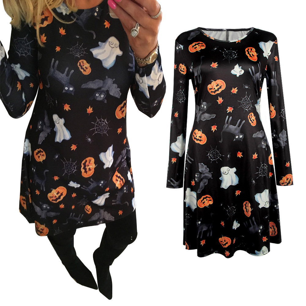 New Winter Christmas Dress Party Halloween Ghost Fashion Cartoon Printed Dress Casual Lo ...