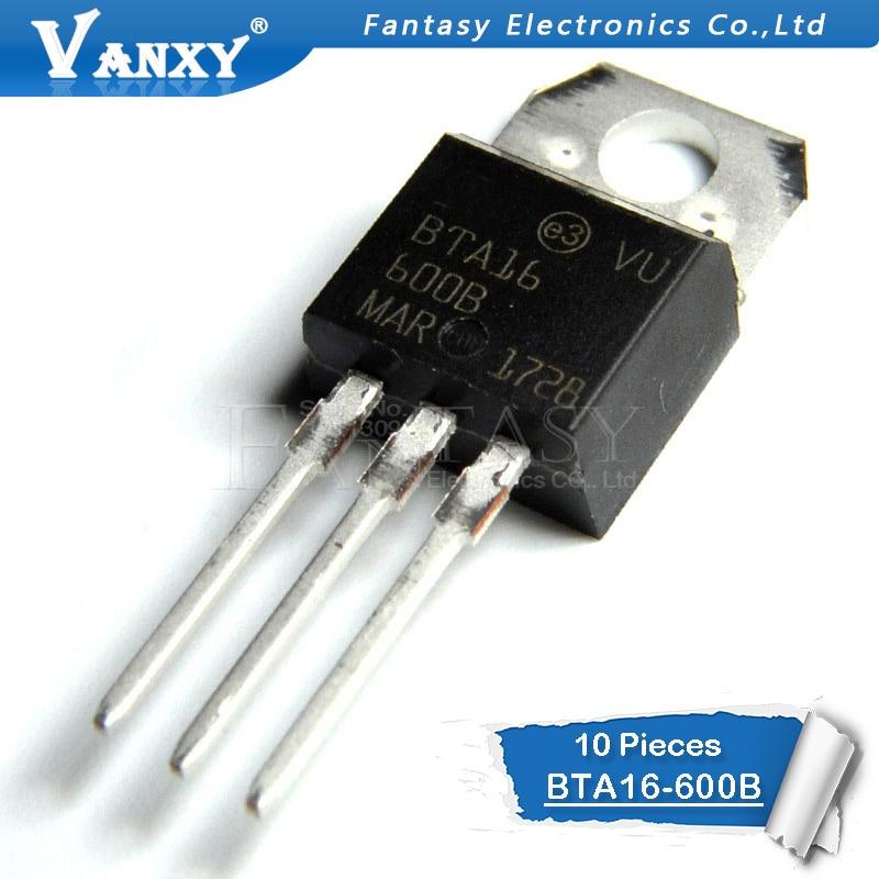 10 Uds BTA16-600B-220 BTA16-600 TO220 16-600B BTA16 600V 16A TRIACS De Nuevo Y Original