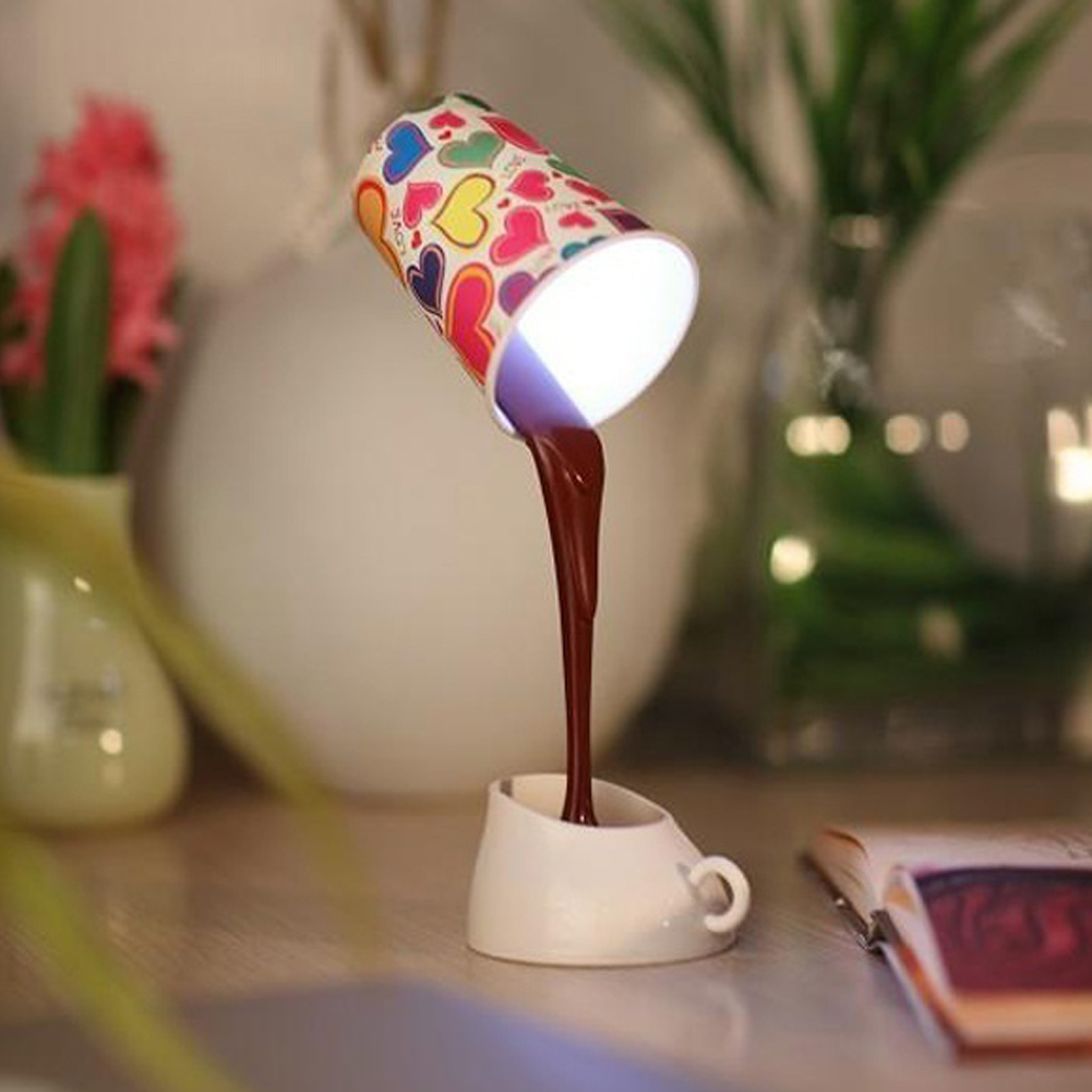HOT Creative Coffee Pour Lamp With USB Battery DIY Table Lamp Eye Protection Desk Lamp Peculiar New LED Nightlight Wholesale lnhf novelty diy led table lamp home romantic pour coffee usb battery night light
